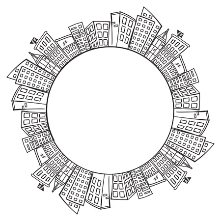 sketchy illustration: city skylines with copy space