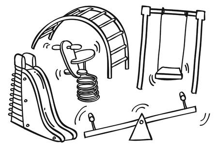 dětské hřiště: Hrát pozemní hračky doodle Ilustrace
