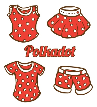 set of girl clothing icon in doodle style  Vector