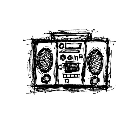 Grungy retro radio  Vector