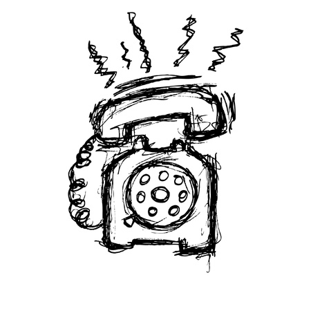 naive: vintage telephone in doodle style