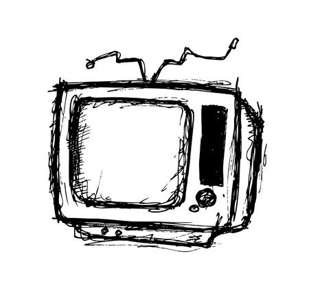 Retro television doodle  Stock Vector - 21393943