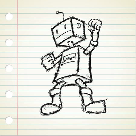 quick drawing: robot doodle  Illustration