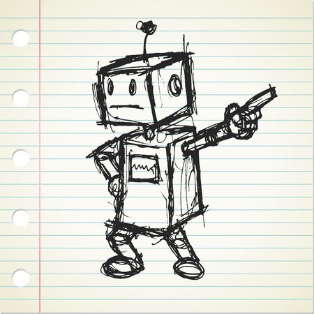 scribble: robot doodle  Illustration