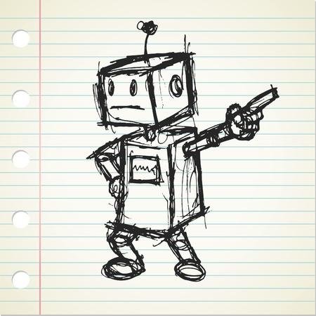 robot doodle  Vectores