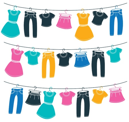 clothes cartoon: Les v�tements sur corde � linge