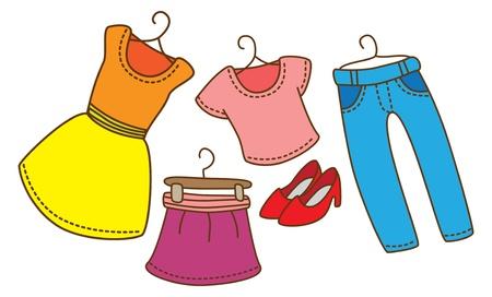 Ubrania kobiece kreskówka Ilustracje wektorowe