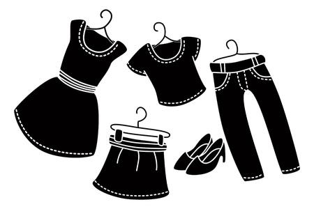 jeans skirt: cartoon female clothing