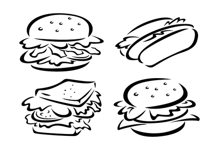set of sketchy food icon Vector