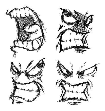 stressed people: set of angry face doodle Illustration
