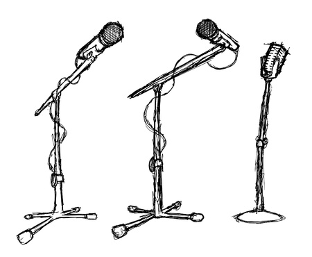 set of grunge microphone Vector