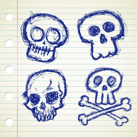 set of sketchy skull icon Vector