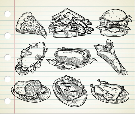 set of hand drawn junk food icon Vector