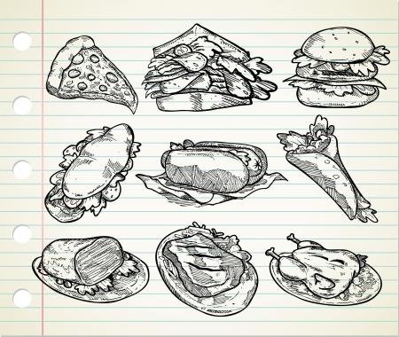sketchy illustration: set of hand drawn junk food icon