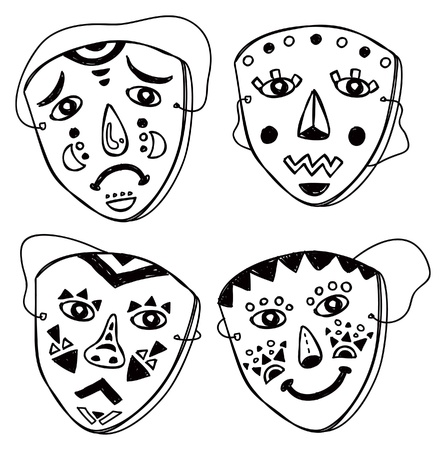 comedy disguise: set of mask in various expression Illustration