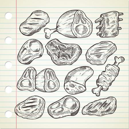 落書きスタイルの肉のセット