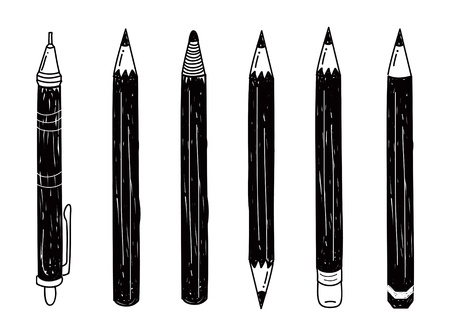 pencils: set of pencil doodle