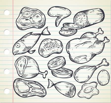 Eingestellt von Fleisch in doodle Stil Standard-Bild - 21394011