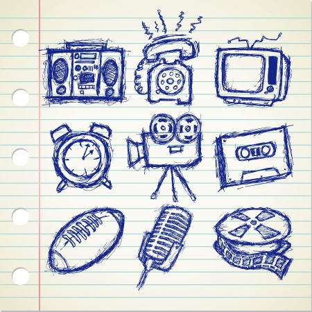 set of sketchy vintage stuff icon Vector
