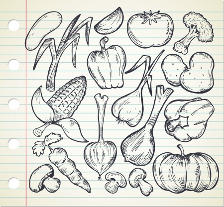 set of sketchy vegetables