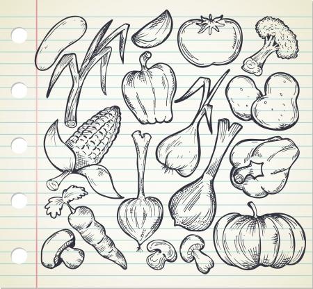 food shop: set of sketchy vegetables