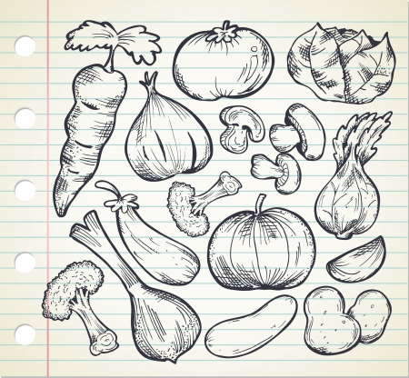 set of sketchy vegetables Vector
