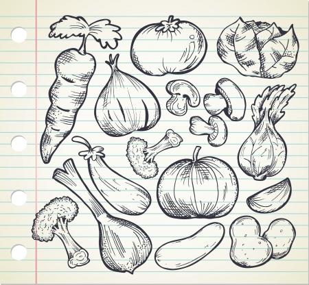 aubergine: set of sketchy vegetables