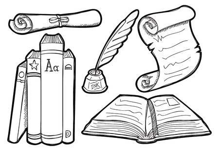 a literary sketch: Old book and parchment in doodle style