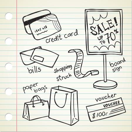 spree: shopping spree doodle Illustration