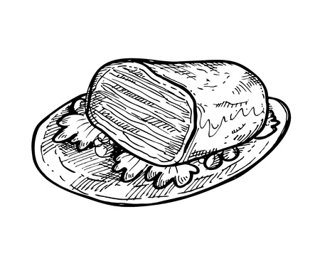 sketchy meat on a plate Vector