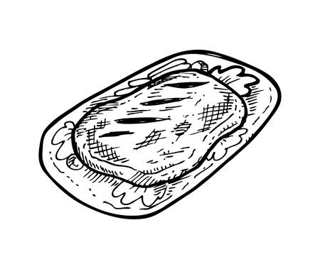 steak plate: carne incompleta en un plato