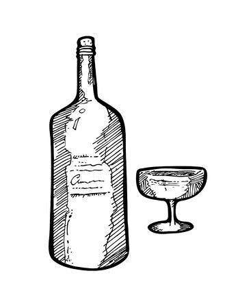 sketchy wine Vector