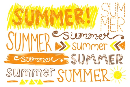 summer hand drawing typography Vector