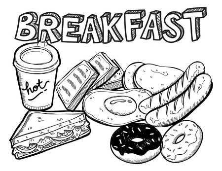 various breakfast doodle Illusztráció