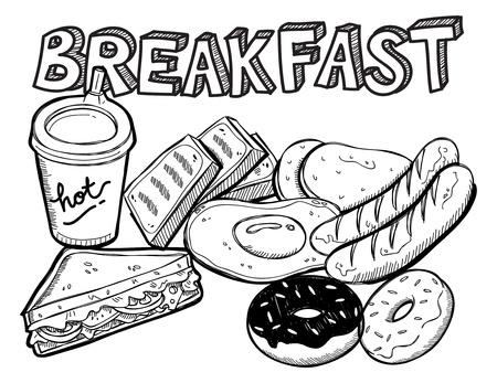 doughnut: various breakfast doodle Illustration