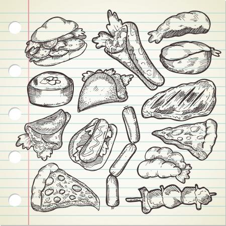 kebab: Set of various food in sketchy style