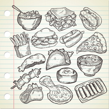 burger and fries: Set of various food in sketchy style