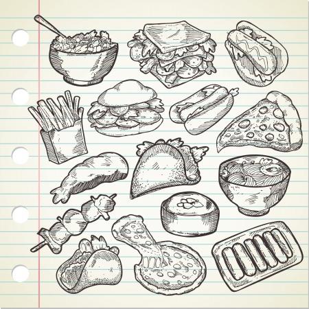 fries: Set of various food in sketchy style