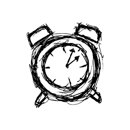 sketchy clock in doodle style Stock Vector - 21394098