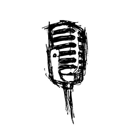 schetsmatig microfoon in doodle stijl Stock Illustratie