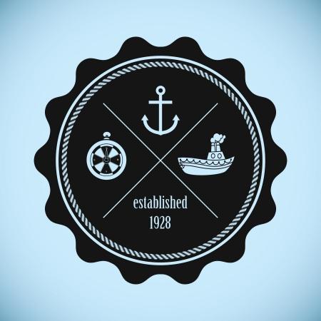 Vintage nautical badge Stock Vector - 21394105