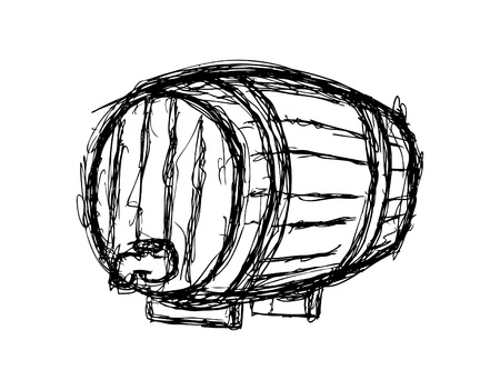 abstract liquor: wine barrel isolated on white background