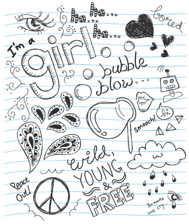 girl drawing: abtract doodle on a paper