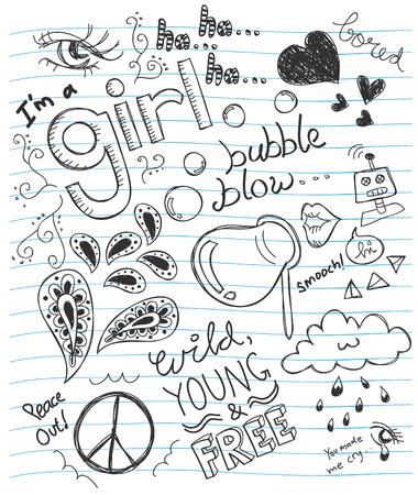 simbolo della pace: Doodle abtract su una carta Vettoriali
