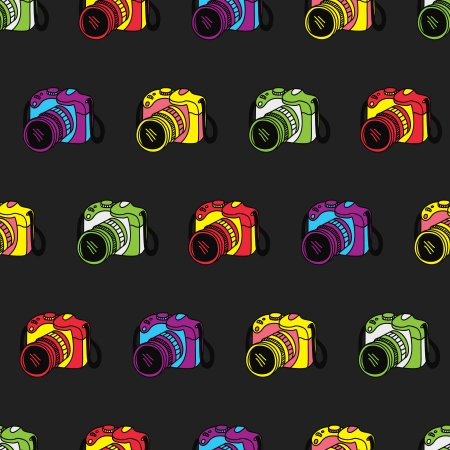 camera pattern vintage style Vector