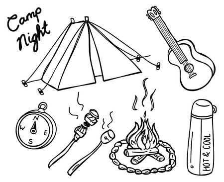 quick drawing: camping doodle Illustration