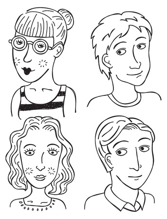 cartoon boys girls face  Vector