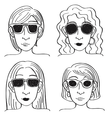 cartoon girl with sunglasses Vector