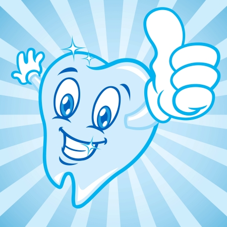 cartoon teeth thumbs up Vector