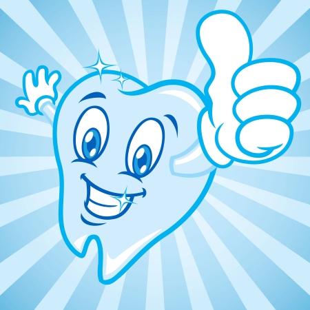 dientes caricatura: dientes de la historieta pulgares para arriba Vectores